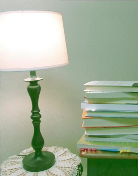 Lamp and books in my bonus room.