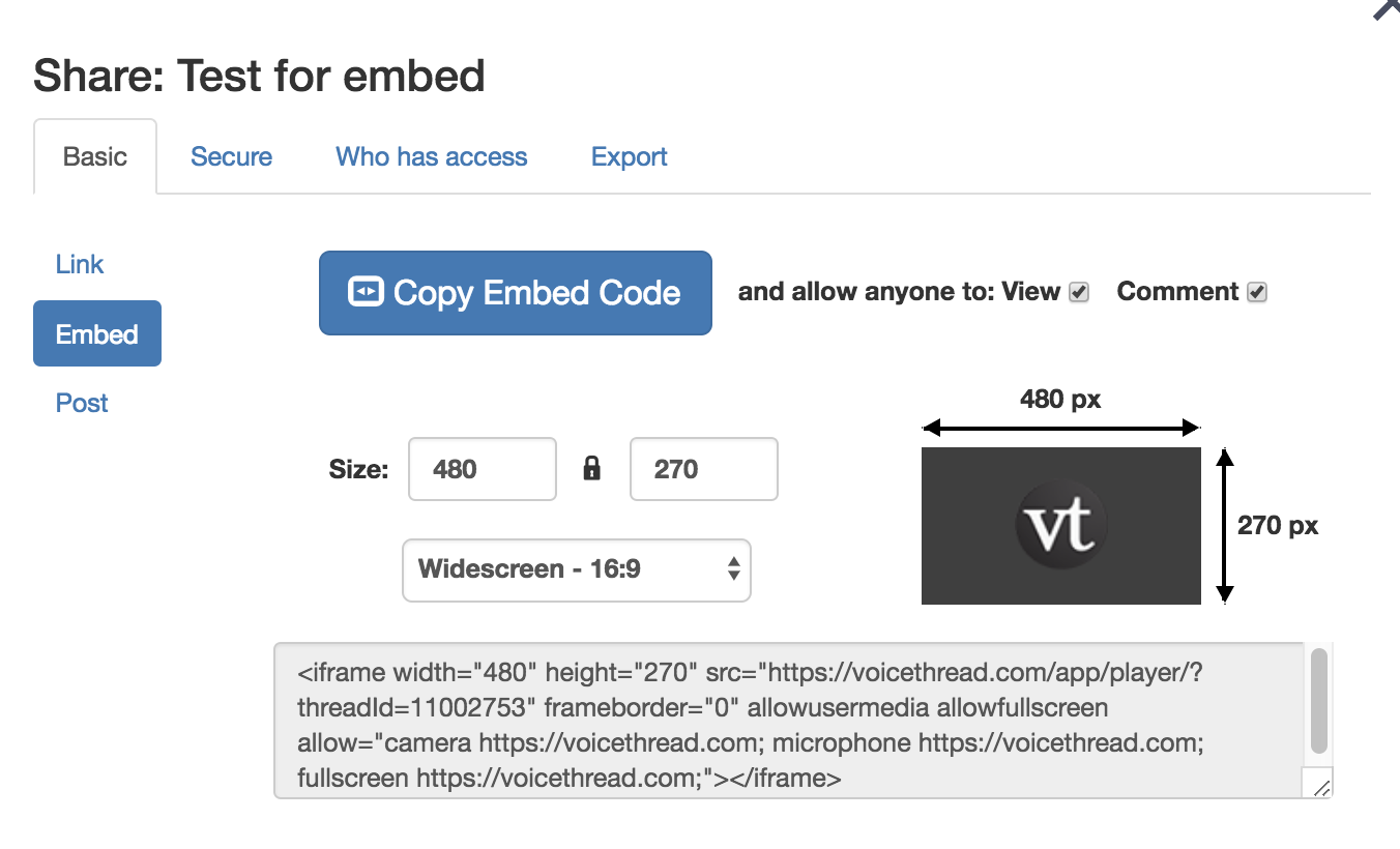 copy the embed code